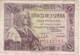 BILLETE DE ESPAÑA DE 1 PTA DEL 15/06/1945 ISABEL LA CATÓLICA SERIE P (BANK NOTE) - 1-2 Pesetas