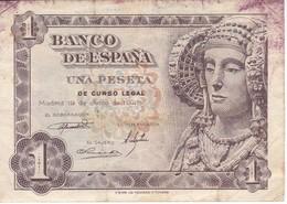 BILLETE DE ESPAÑA DE 1 PTA DEL AÑO 1948 SERIE D - DAMA DE ELCHE  (BANKNOTE) - 1-2 Pesetas
