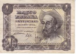 BILLETE DE ESPAÑA DE 1 PTA DEL AÑO 1951 EL QUIJOTE  SERIE E - 1-2 Pesetas