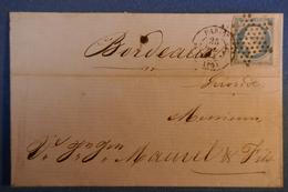 B128  FRANCE LETTRE 1854 PARIS A BORDEAUX + NAPOLEON + ETOILE - 1853-1860 Napoléon III