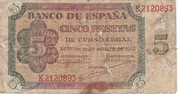 BILLETE DE ESPAÑA DE 5 PTAS DE BURGOS DEL AÑO 1938 SERIE K  (BANKNOTE) - [ 3] 1936-1975 : Régence De Franco