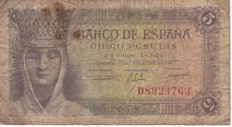 BILLETE DE ESPAÑA DE 5 PTAS DEL 13/02/1943 SERIE D  CALIDAD RC  (BANKNOTE) - [ 3] 1936-1975 : Régence De Franco