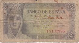 BILLETE DE ESPAÑA DE 5 PTAS DEL 13/02/1943 SERIE F  CALIDAD RC  (BANKNOTE) - [ 3] 1936-1975 : Régence De Franco