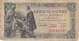 BILLETE DE ESPAÑA DE 5 PTAS DEL 15/06/1945 SERIE A CALIDAD RC  (BANKNOTE) - [ 3] 1936-1975 : Régence De Franco