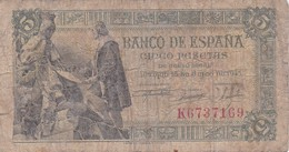 BILLETE DE ESPAÑA DE 5 PTAS DEL 15/06/1945 SERIE K CALIDAD RC  (BANKNOTE) - [ 3] 1936-1975 : Régence De Franco
