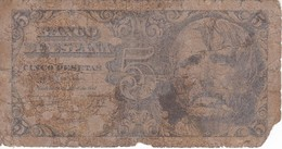 BILLETE DE ESPAÑA DE 5 PTAS DEL AÑO 1947 SIN SERIE  CALIDAD RC   (BANKNOTE) - [ 3] 1936-1975 : Régence De Franco