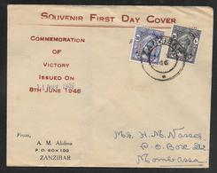 Zanzibar - 1946 Victory Overprints On FDC - Zanzibar (...-1963)