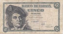 BILLETE DE ESPAÑA DE 5 PTAS DEL 1948 SERIE H CALIDAD RC (BANKNOTE) - [ 3] 1936-1975 : Régence De Franco