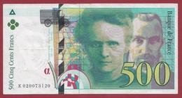"""500 Francs """"Pierre Et Marie Curie"""" 1994 ----TTB+----ALPH.K. Numéro 020073120 - 1992-2000 Dernière Gamme"""