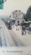 CPA 1907 - Fontainebleau - 23 La Gare -(  Train En Gare ) - Fontainebleau