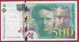 """500 Francs """"Pierre Et Marie Curie"""" 1994 ----TTB+----ALPH.P. Numéro 022659658 - 1992-2000 Dernière Gamme"""