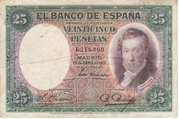 BILLETE DE ESPAÑA DE 25 PTAS DEL AÑO 1931 EN CALIDAD RC+ SIN SERIE - [ 2] 1931-1936 : Repubblica