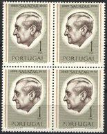 PORTUGAL, 1971, PRESIDENT SALAZAR, CE#1106X4, PERFURATION 12, MNH - Errors, Freaks & Oddities (EFO)