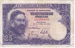 BILLETE DE ESPAÑA DE 25 PTAS DEL AÑO 1954 ISAAC ALBENIZ  SERIE I - [ 3] 1936-1975 : Régence De Franco
