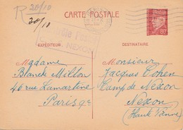 Stalag  Camp De Nexon Entier Petain 0.80 Censure Controle Postal C.s.s. Nexon - Marcophilie (Lettres)