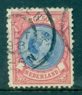 Nederland 1893 Prinses Wilhelmina Hangend Haar 2 1/2 Gld Rood En Blauw NVPH 47 Gebruikt - Period 1891-1948 (Wilhelmina)