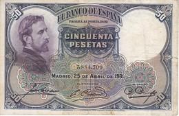 BILLETE DE 50 PTAS DE 1931 E. ROSALES SIN SERIE CALIDAD BC   (BANKNOTE) - 50 Pesetas