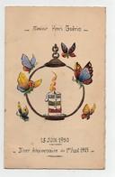 Menu 13 Juin 1950 Peint à La Main Rue De Village Bougie Papillons  (2 Menus) - Menus