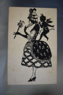B142 Silhouette Lady With Rose And Fan / Stamp Cenzurat Botosani 2 / Ww2 Censored 1943 - Silueta