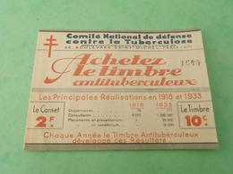 TC29 / ANTITUBERCULEUX / TUBERCULOSE / Carnet De 1933 Numéroté 1640 Et Surchargé LES MUREAUX Page 2 Indice Seine Et Oise - Antituberculeux
