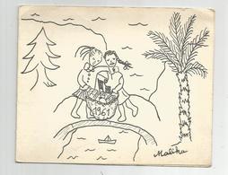 Carte Double Algérie Casbah D'alger Centre Solidarité Féminine Déssinée Par Malika 1961 Voeux 15x12 Cm - Alger