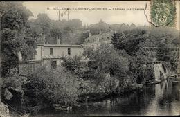 Cp Villeneuve Saint Georges Val De Marne, Château Sur L'Yerres - France