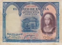 BILLETE DE 500 PTAS DEL AÑO 1927  DE ISABEL LA CATÓLICA SIN SERIE  (BANKNOTE) - [ 1] …-1931 : Prime Banconote (Banco De España)