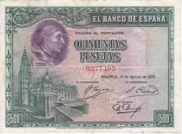 BILLETE DE ESPAÑA DE 500 PTAS DEL AÑO 1928 CALIDAD BC  CARDENAL CISNEROS - [ 1] …-1931 : Prime Banconote (Banco De España)