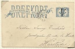 SUEDE SWENDEN Entier Postal STOCKHOLM  STOCKHOLMS STADSPOST BREFKORT - Lokale Uitgaven