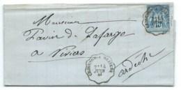 15c SAGE SUR ENVELOPPE / CONVOYEUR CESSENON A BEZIERS POUR VIVIERS / 1884 / ROQUEBRUN - 1877-1920: Semi-Moderne