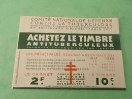 TC29 / ANTITUBERCULEUX / TUBERCULOSE / Carnet De 1934 Indice ( Marne ) Petite Déchirure Au Niveau De La Charnière - Antituberculeux