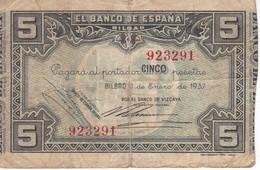 BILLETE DE ESPAÑA 5 PTAS DEL BANCO DE BILBAO 1937 - FIRMA BANCO VIZCAYA (BANKNOTE) - [ 3] 1936-1975 : Régence De Franco