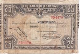 BILLETE DE ESPAÑA DE 25 PTAS DEL BANCO DE ESPAÑA-BILBAO DEL AÑO 1937 (CAJA AHORROS VIZCAINA) - [ 3] 1936-1975 : Regime Di Franco