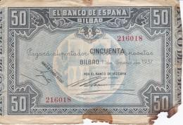 BILLETE DE ESPAÑA DE 50 PTAS DEL BANCO DE ESPAÑA-BILBAO DEL AÑO 1937 (BANCO DE VIZCAYA) - [ 3] 1936-1975 : Regime Di Franco