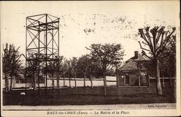 Cp Les Baux Sainte Croix Eure, Mairie Et La Place - France