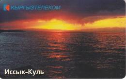 TARJETA DE KIRGUISTAN DE 50 UNITS DE UN LAGO - PUESTA DE SOL - SUNSET - Kyrgyzstan