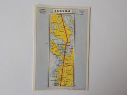 Aviation Sabena Carte Postale Lignes Aériennes Belges Carte Géographie Direction Du Vol Stockholm - Publicités
