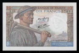 France Billet Neuf état Luxe Mineur D'un Coté Et Paysanne De L'autre 19/11/1942 - 10 F 1941-1949 ''Mineur''