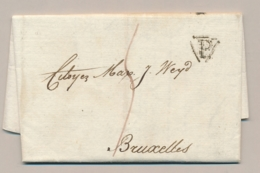 France - 1800 - Complete Folded Letter - 15 Messidor - P In Triangle - From Paris To Bruxelles / België - 1701-1800: Precursors XVIII