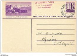 """117 - 74 - Entier Postal Avec Illustration """"Oberhofen"""" Et Oblit Spéciale """"Fête Fribourgeoise Des Costumes Estavayer 1937 - Entiers Postaux"""