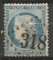 France - Napoleon III Et/ou Cérès - Oblitération Sur N° 37 - GC 318 BARGEMON (Var) - 1849-1876: Période Classique
