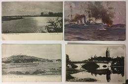 4 Postcards Madras: Battleship Emden Shelling Madras, Central Station, Sunset On The Adyar, St Thomas' Mount - Inde