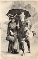 Cpa Voyage De Noce Couple  Pluie Parapluieéditeur Bergeret - Bergeret