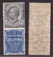 Regno, 15 Centesimi Leoni Pubblicitario Columbia Del 1924 Nuovo **        -CR14 - 1900-44 Victor Emmanuel III