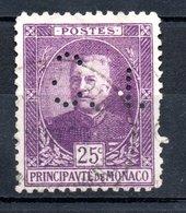 MONACO -- Timbre Perforé Perfin Luchung --  25 C. Prince Louis II  Violet  --  C N  - 13 19   Indice 3 - Variétés