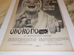 ANCIENNE  PUBLICITE ODO MATIC DE  ODO RO NO   1960 - Parfum & Kosmetik
