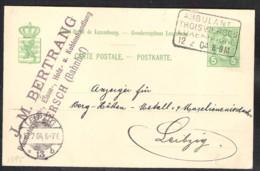 LUXEMBURG Postal Stationery Mi. P 57 With Ambulant Troisvierges-Luxembourg Sent 1904 To Leipzig (Germany) - Postwaardestukken