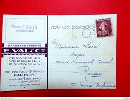 Lettre Du 4/9/1934 De Poix De Picardie Pour Rouen - Carte Style Art Déco - Céramiques Verreries - Marcophilie (Lettres)