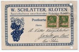 VIGNE - VIN - WINE - WEIN / 1925 KLOTEN SUISSE CARTE COMMERCIALE ILLUSTREE POUR GERTWILLER - ALSACE (ref LE4101) - Wines & Alcohols