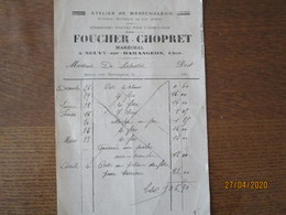 NEUVY-SUR-BARANGEON CHER FOUCHER-CHOPRET ATELIER DE MARECHALERIE FERRURES SERRURERIE FACTURE DE 192 - France